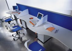 Innovative office design in blue and white
