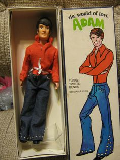 1971 Hasbro The World of Love Adam Doll - This doll is a little before my time, actually, but it made me LOL. World of Love dolls. Go, Adam!