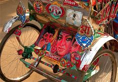 i love the bright primary colors and style of rickshaw art