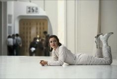 """Behind the scenes of """"Star Wars: Episode V - The Empire Strikes Back"""". Carrie Fisher (Princess Leia) in Bespin."""