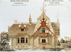 Country house.  Russian wooden architecture.  Pseudo-Russian style.  The album The motives of Russian architecture.  1879.  Architect Lygin Architecture Russe, Wooden Architecture, Russian Architecture, Facade Architecture, Classical Architecture, Urban Sketching, Exterior Design, Architectural Drawings, Russian Style