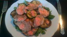 Middag: Mørbrad på grill med peberfrugtpesto. (aubergine og squash). Opskrift: MIDDAG slank og sund pret rundt, side 70