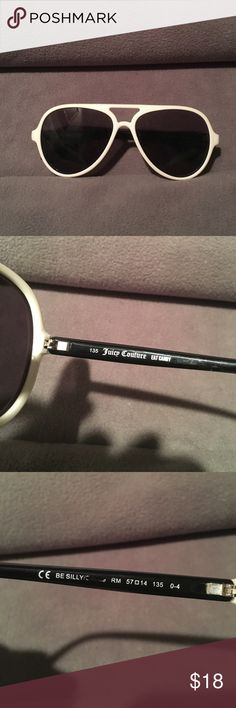 """Juicy Couture """"Be Silly"""" Aviators Used condition. Has scratches on lenses but it actually does not impair vision. Can only see when you hold up to light. Has the imprint/reflection of Be Silly on the lenses. White front and black arms. No case available since i purchased these in pink on Posh...sorry. Juicy Couture Accessories Sunglasses"""