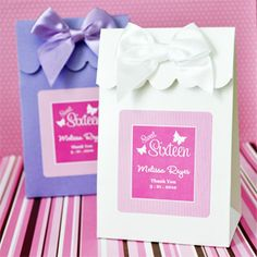 Personalized Sweet Sixteen Favor Bags - 12 pcs - Favor Bags - Favor Packaging - Wedding Favors & Party Supplies - Favors and Flowers Quinceanera Favors, Quinceanera Planning, Wedding Favors, Party Favors, Quince Decorations, Sweet Sixteen Parties, Peanut Brittle, Diy Party, Party Ideas