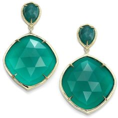 ILA Keely Green Onyx, Emerald & 14K Yellow Gold Drop Earrings (10,675 PEN) ❤ liked on Polyvore featuring jewelry, earrings, nakit, yellow gold earrings, 14 karat gold earrings, 14k yellow gold earrings, green onyx earrings and post drop earrings