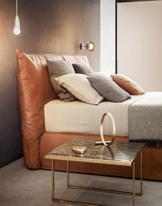Leather Bed Frame, Leather Headboard, Leather Furniture, Sofa Furniture, Furniture Design, Sofa Design, Bed Back Design, Bedding Inspiration, Headboards For Beds