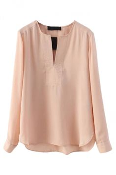 New Spring Blusas Femininas Fashion Solid Slim Casual Chiffon Blouse Long Sleeve V Neck Pullover Shirt Women Clothing Blouses Roses, Women's Blouses, Pink Long Sleeve Tops, Shirt Bluse, Tie Front Blouse, Chiffon Shirt, Chiffon Tops, Look Fashion, Ideias Fashion