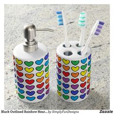 Black Outlined Rainbow Hearts Soap Dispenser & Toothbrush Holder