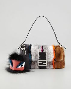 Fendi Baguette Striped Mink Fur Bag, Multicolor - Neiman Marcus. it's an awesome bag, but doing this to mink makes me sad