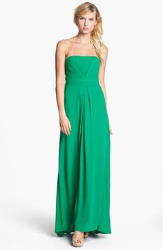 I know its completely a different color than what I said I wanted but man do I ever love this dress....and the name of the color is malachite! BCBGMAXAZRIA Strapless Pleated Gown available at #Nordstrom