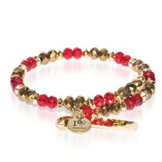 Gold, Red & Gold Crystal Bangle - Red & Gold glass crystal with gold finished Laurelian stainless steel bar. Engraving options available. See more at: http://www.josephnogucci.com/products/gold-red-gold-crystal-bangle-bracelet
