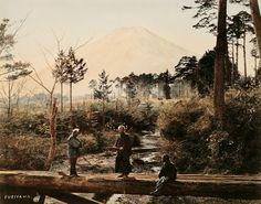 富士山と侍  ベアト撮影   着色写真