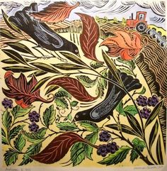 The Wind. hannah firmin.  linocut  (love the tractor)