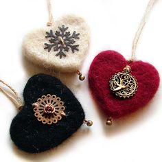 KEÇE+KOLEKSİYON+-+asmalı+kalp+formunda,+siyah+keçe+süs+/+iğne+yastığı