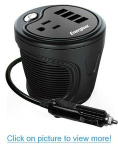 ENERGIZER 180W Cup Inverter 12V DC cigarette lighter to 120V AC to power laptop notebook $ more w/ 4 USB ports 2.1A shared compatible with iPad $ more