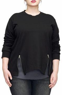Shop Now - >  https://api.shopstyle.com/action/apiVisitRetailer?id=655209657&pid=uid6996-25233114-59 Plus Size Women's Universal Standard Corbelle Zip Hem Sweatshirt  ...