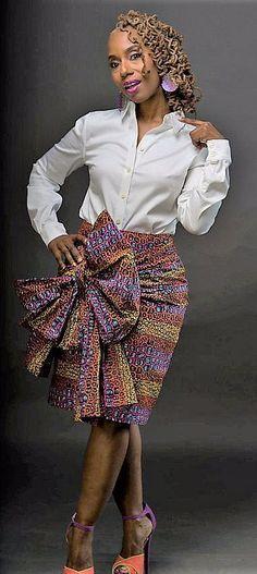 The K U F U N G A Skirt Made from African Dutch Wax DKK Latest African fashion Ankara kitenge African women dresses African prints African men's fashion Nigerian style Ghanaian fashion. African Dresses For Women, African Print Dresses, African Attire, African Fashion Dresses, African Wear, African Women, African Prints, African Inspired Fashion, African Print Fashion