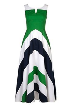 eShakti Women's Chevron stripe colorblock maxi dress XL-16 Regular Juniper green/white/deep navy