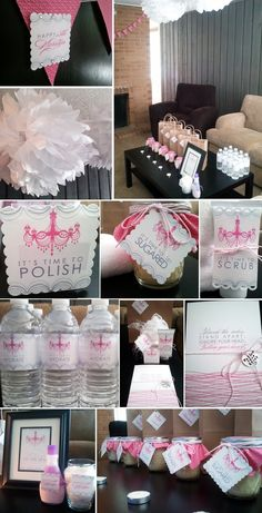 Spa Party Ideas. birthday party ideas, birthday invitation, birthday favors, themed birthday party plus this is great for girls who love monogrammed things!!!!