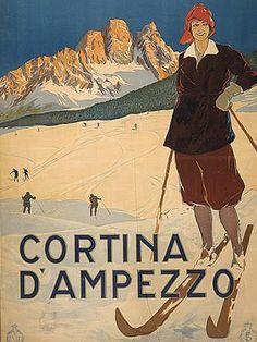 Shop Ski Italy Alps - Vintage Skiing Travel Postcard created by caferetro. Ski Vintage, Vintage Ski Posters, Vintage Italian, Vintage Gifts, Vintage Decor, Vintage Style, Wpa Posters, Poster Prints, Art Prints