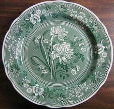 Hunter Green Toile Transferware Daffodil Exotic Plate