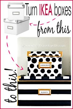 Spade Inspired Storage Boxes Kate Spade inspired storage boxes to hide away all of those loose office items!Kate Spade inspired storage boxes to hide away all of those loose office items! Ikea Boxes, Ikea Storage Boxes, Storage Cubes, Diy Rangement, Diy Inspiration, Kate Spade Bedroom Inspiration, Ideas Para Organizar, Ideias Diy, Office Items