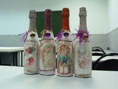 новогодний авторский декор бутылок с напитками