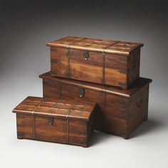 Butler Arcadia Solid Wood Iron Storage Trunk Set