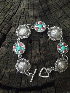 7.5 Concho Turquoise Charm Bracelet by diamondbjewelry on Etsy