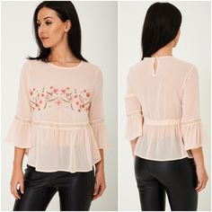 Womens Peach Boho Hippie Blouse Top Floral Embroidered 6 8 10 12 Fluted Sleeve #ExBranded #Blouse #Casual Peplum Blouse, Ruffle Blouse, Bohemian Tops, Boho Hippie, Floral Tops, Bell Sleeves, Peach, Casual, Women