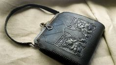 Arts and Crafts hand tooled leather purse