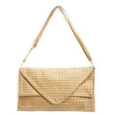 Gold Woven Clutch Evening Handbag $16.99