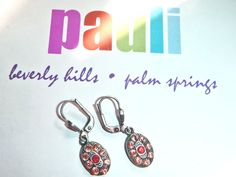 POPESCO Petite French EARRINGS made w/ Swarovski pink orange Crystals Lever back La