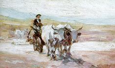 The oil painting the Ox Cart ('Carul cu Boi') by the Romanian painter Nicolae Grigorescu was sold for EUR at the auction organized by Artmark at the Bucharest Opera House. Bull Painting, Painting & Drawing, Figure Painting, Art And Illustration, Art Illustrations, Russian Painting, Art Database, Oil Painting Reproductions, High Art