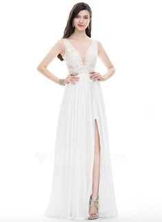 [US$ 189.99] A-Line/Princess V-neck Floor-Length Satin Chiffon Prom Dress With Beading Sequins