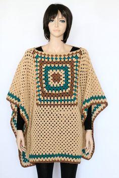 Indian Poncho PDF crochet pattern Rustic Poncho por etty2504