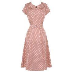 61c1575aea07 Hell Bunny Ingrid Pastel Polka Dot 1940s Wartime WW2 Summer Tea Party Dress: Amazon.