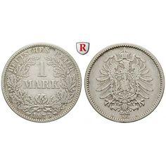 Deutsches Kaiserreich, 1 Mark 1873, A, 5,0 g fein, ss+, J. 9: 1 Mark 24 mm 1873 A. J. 9; sehr schön + 20,00€ #coins