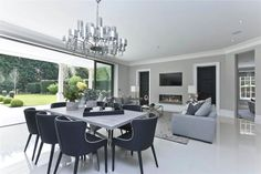 6 bedroom detached house for sale in Albury Road, Burwood Park, Walton-on-Thames, Surrey - Rightmove. Open Plan Kitchen Dining Living, Open Plan Living, Living Room Kitchen, Living Room Decor, Dining Rooms, Living Area, Living Room Extension Ideas, Dream Home Design, House Design