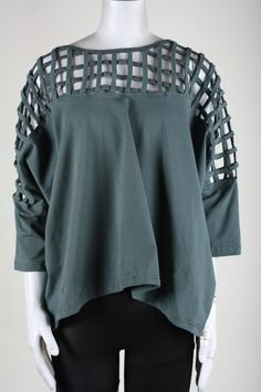 Women | Tops | T Shirts | Cut Out Yoke Top - Green | Indie Clothes & Accessories