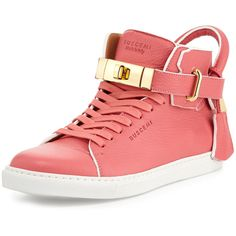 Buscemi Women's 100mm Leather High-Top Sneaker w/ Rolled Strap (1,255 CAD) ❤ liked on Polyvore featuring shoes, sneakers, coral, slingback shoes, lace up sneakers, hi tops, leather lace up shoes and lace up high top sneakers
