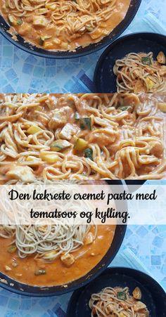 Nem og lækker opskrift på cremet pasta, serveret med masser af kylling, tomatsovs og grøntsager. Hurtigt og smagfuld pastaret.