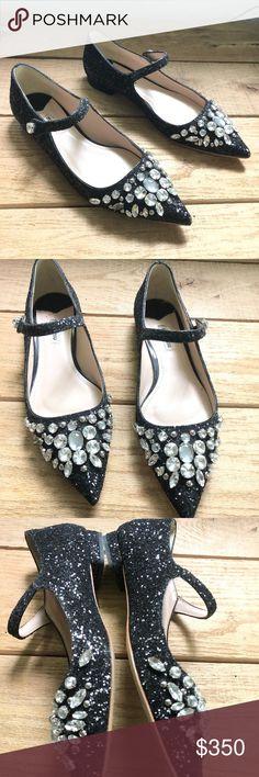 26342d3c4567 Miu Miu Jeweled glitter skimmer flat Mary Jane 8 These beautiful black  shiny glitter pointed toe