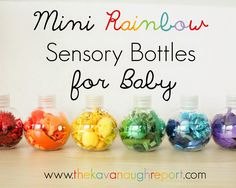 Mini Rainbow Sensory Bottles -- these work for babies and toddlers. Colorful, easy and safe way to explore color.