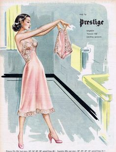 1952 Australia: the more you look at this Prestige ad, the more questions there are. Just one of over 1500 lingerie- and hosiery-related advertisements from all around the world, by some of the greatest illustrators and artists, ever. Lingerie Vintage, Vintage Underwear, Women Lingerie, Vintage Girdle, French Lingerie, Lace Lingerie, Moda Vintage, Vintage Vogue, Vintage Ads