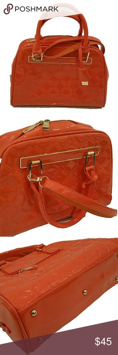 Vinyl Retro-style Bag Vinyl Retro-style bag. Orange (this color pops!). Gold hardware. Great condition. Very clean. Like new. 5 gold feet on bottom. Full zip top. Long shoulder strap and 2 arm straps. Bags Satchels