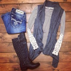 Back to School | FALL FASHION | Crochet Cuff | Stripes | Long Sleeve | Boots | Grey | Rock Revival Jeans | SHOP HOITY TOITY 360.716.2982