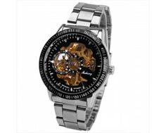$14.00 Huhang Mechanical Watch Needles Hour Marks Round Dial with Steel Watchband for Men (Black)