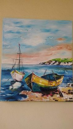 Love the color and the boats in foreground Watercolor Landscape, Landscape Paintings, Watercolor Paintings, Boat Painting, Painting & Drawing, Boat Art, Acrylic Art, Painting Inspiration, Art Drawings