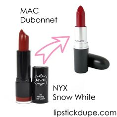 8 NYX Lip Dupes! My very favorite from the line, here are 8 NYX lip dupes. (MAC Dupes & Lorac Dupe) NYX Lipstick Dupes are some of my favorite dupes because I love their formulas